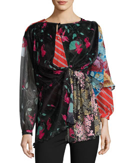 Patchwork Long-Sleeve Cape-Back Blouse