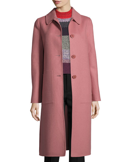 Cashmere Single-Breasted Coat, Rose