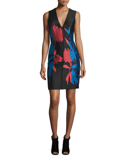 Sleeveless Floral Faille Shift Dress, Black