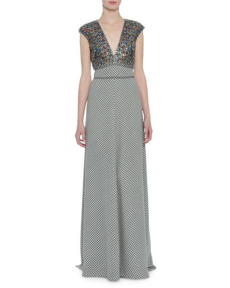 Embroidered Cap-Sleeve V-Neck Gown, Pink/Burgundy
