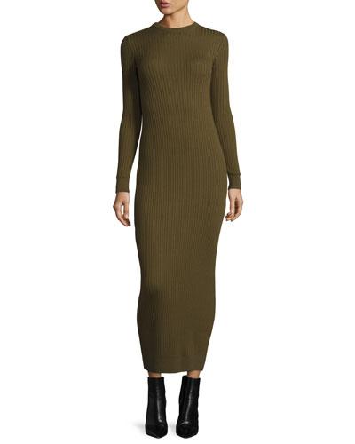 Long-Sleeve Knit Midi Dress, Khaki
