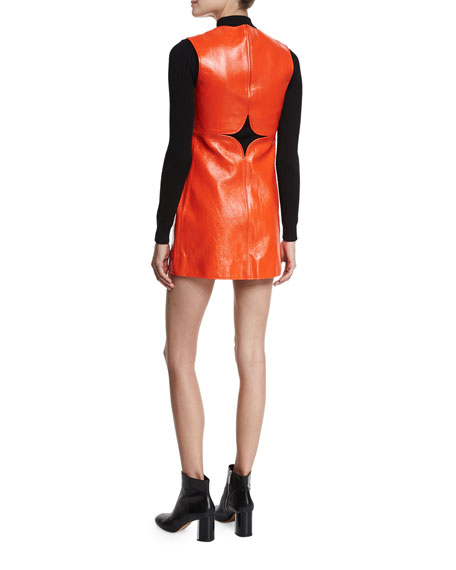 Cutout Vinyl Shift Dress, Red