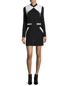Two-Tone V-Neck Dress, Black/White