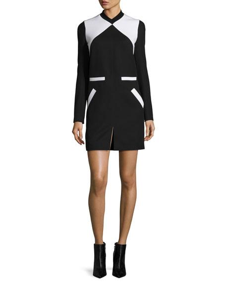 Courreges Two-Tone V-Neck Dress, Black/White