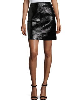 Split Vinyl Mini Skirt, Black
