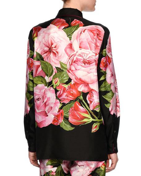 Floral-Print Silk Pajama Top, Black/Pink