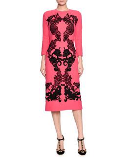Lace-Applique Wool Sheath Dress, Fuchsia/Black