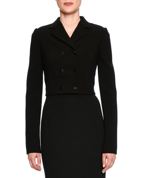 Cropped Double-Breasted Jacket, Black