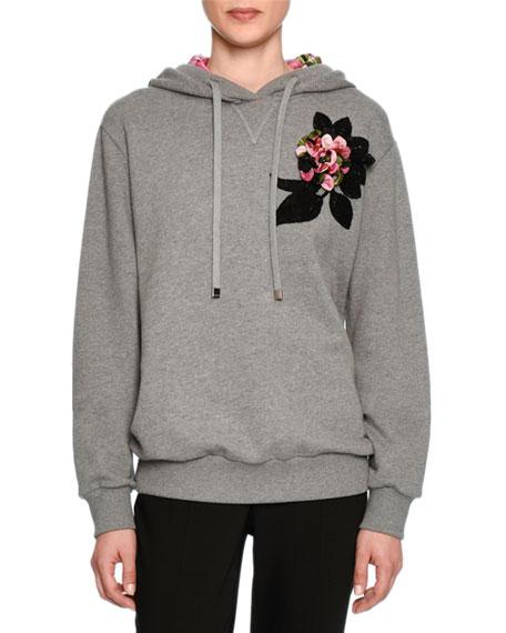 Hoodie Sweatshirt w/Floral Applique, Gray