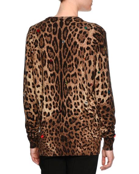 Embellished Leopard-Print Cashmere Sweater