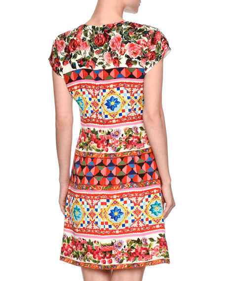 Maiolica-Print Cap-Sleeve Dress, Pink/Multi