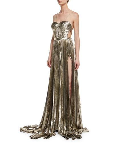 Norina Metallic Pleated Chiffon Gown, Gold