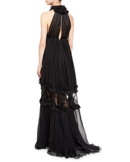 Aliyah Ruffled Silk Halter-Neck Gown, Black