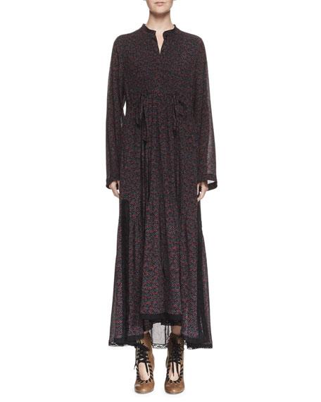 Cherry-Print Long-Sleeve Maxi Dress, Black/Red