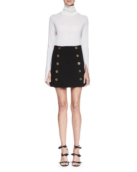 Button-Front Mini Skirt, Black