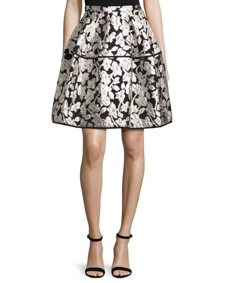 Floral Gazar Fil Coupe Party Skirt, Silver/Black