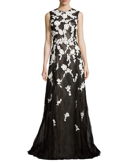 Sleeveless Chantilly Tulle Lace Gown, Black/White