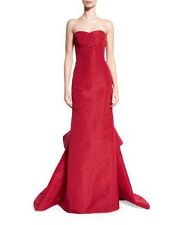 Strapless Silk Faille Gown w/Ruffled Train, Red