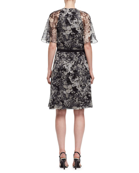Peony-Print Chiffon Wrap Dress, Black/White