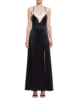 Colorblock Satin Open-Back Gown, Black