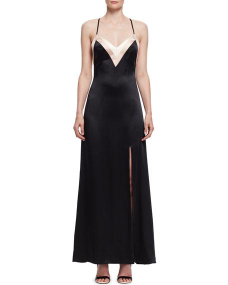 Colorblock Satin Open-Back Gown, Black
