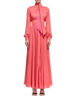 Long-Sleeve Silk Tie-Front Gown, Rose