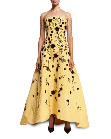 Strapless Beaded Silk Faille Gown, Yellow