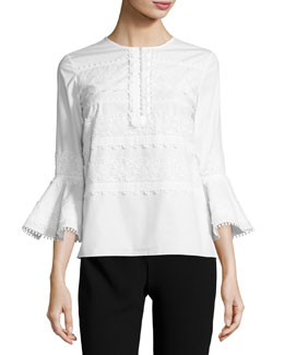 3/4-Sleeve Embroidered Poplin Top, Ivory