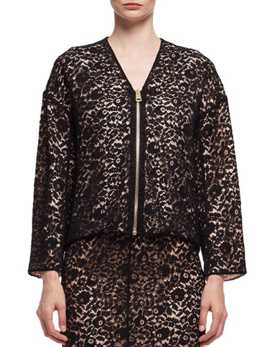 Lace V-Neck Zip-Front Jacket, Black (Noir)