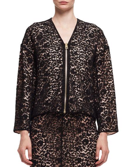 Lace V-Neck Zip-Front Jacket, Black (Noir)