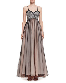 Pleated Chiffon & Lace Bustier Gown, Black (Noir)