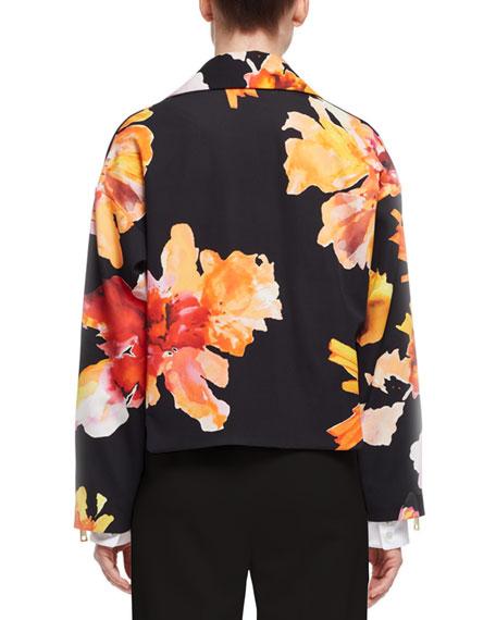 Orchid-Print Silk Jacket, Orange/Black