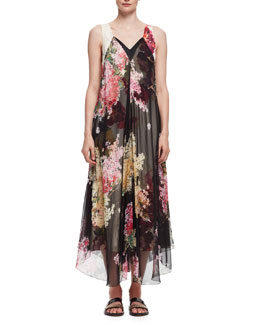 Floral-Print Double-Layer Chiffon Gown, Rose