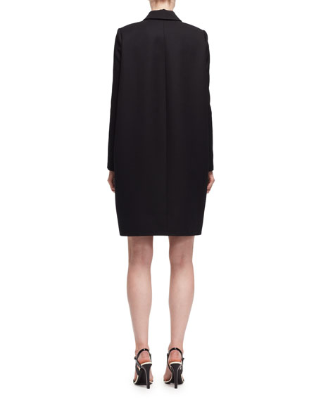 Long-Sleeve Wool Cape-Back Dress, Black