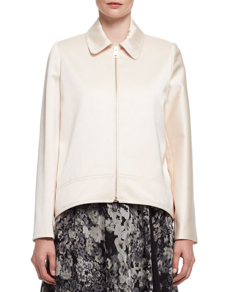 Satin Zip-Front Swing Jacket, Powder (Poudre)