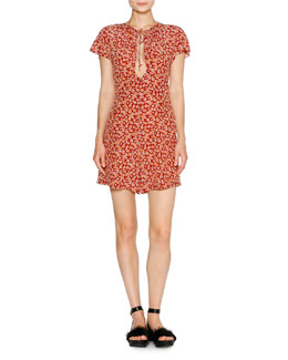 Short-Sleeve Aster-Print Romper, Red Pattern