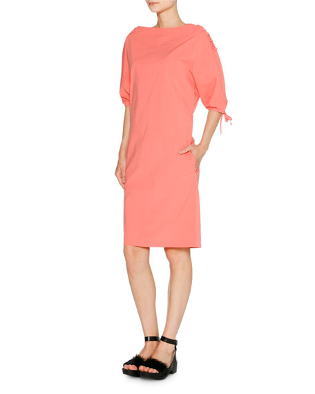 Sporty Poplin Tie-Shoulder Dress, Coral