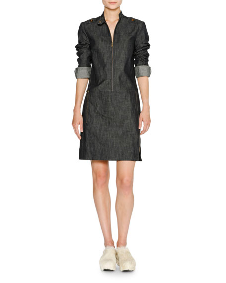 Zip-Front Denim Sheath Dress, Blue