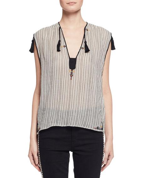 02cc5b8bf259b5 Isabel Marant Etoile Judith Sleeveless Striped Tassel Top