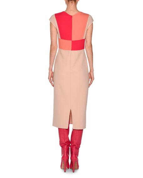 Cross-Front Cap-Sleeve Dress, Nude/Fuchsia/Coral