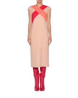 Cross-Front Cap-Sleeve Dress, Nude/Fuchsia/Coral