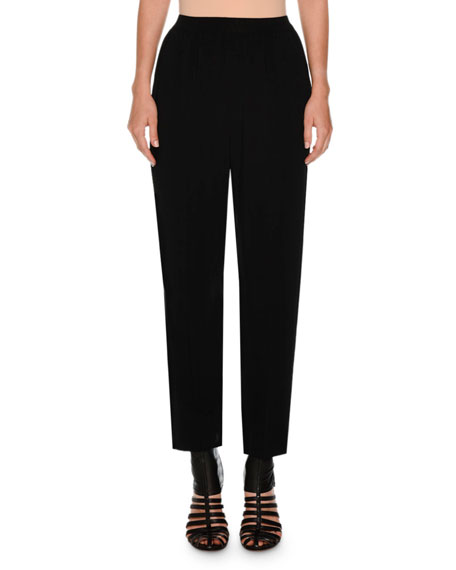 Cropped Cady Stretch Pants, Black