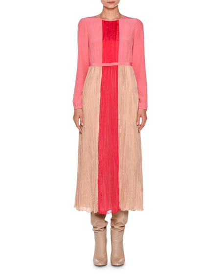 Agnona Long-Sleeve Pleated Charmeuse Midi Dress, Nude/Hibiscus/Pink