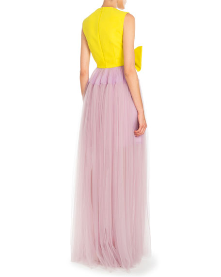Bicolor Bow-Front Tulle Gown, Daffodil Yellow