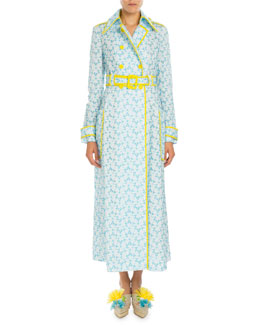 Piped Floral-Embroidered Trenchcoat, Pagoda Blue