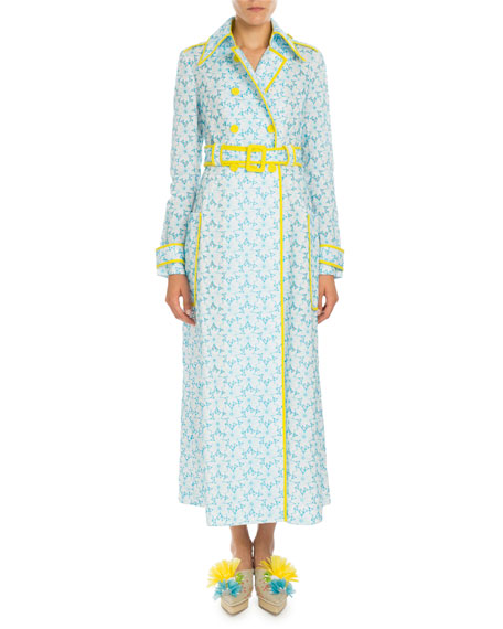 Delpozo Piped Floral-Embroidered Trenchcoat, Pagoda Blue