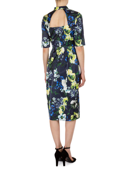 Davina Floral-Print Keyhole Dress, Navy/Yellow