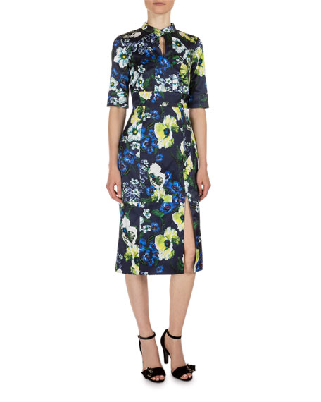 Erdem Davina Floral-Print Keyhole Dress, Navy/Yellow