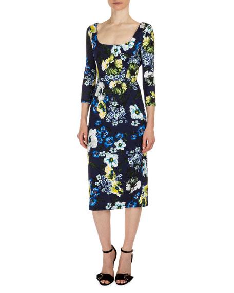 Erdem Tess 3/4-Sleeve Floral-Print Dress, Navy/Yellow