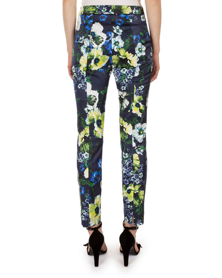 Sidney Floral-Print Pants, Navy/Yellow